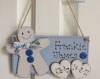 Baby birth announcement plaque keepsake with gingerbread man and hearts