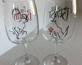 Personalized wine glasses/ beauty and the beast glasses/ His & Hers/ his beauty and her beast/ beauty and the beast fans/ wedding wine glass