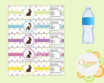 Easter Bunny Labels, Silhouette Easter Bunny Water Bottle Labels, Easter Water Bottle Wraps, Waterproof Labels, Happy Easter Party Decor