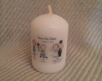 Save the date wedding candles