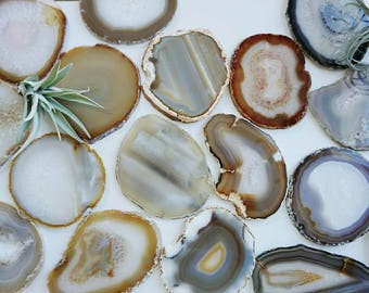Gilded-Edge Agate Coasters - NATURAL - Sets of 2/4/6+ - Housewarming gift - Bridal gift - Home - Home Decor- Christmas Gift- Holidays