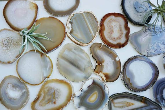 SALE! Gilded-Edge Agate Coasters - NATURAL - Sets of 2/4/6+ - Housewarming gift - Bridal gift - Home - Home Decor- Christmas Gift- Holidays