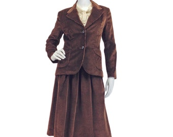 Vintage Clothing, 70s Suit XS S, Brown Corduroy Suit, Preppy Skirt Suit, Fall suit, Chocolate Brown, Collegiate, I Magnin, Retro, SIZE XS S
