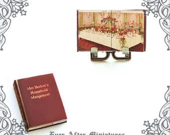 Mrs Beeton HOUSEHOLD MANAGEMENT Dollhouse Miniature Book –1:12 Antique Dollhouse Victorian Miniature Dining Book Cookbook Printable DOWNLOAD
