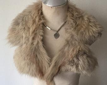 Women's soft fur collar, real polar fox fur, festive look, fluffy fur, vintage style, gray color, size-universal.
