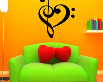 Music Clef Heart Decal LARGE Wall Mural Sticker Studio Room