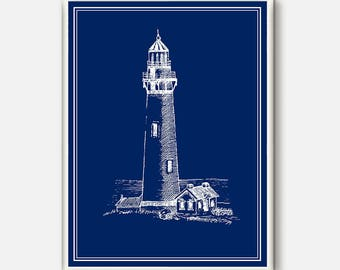 Nautical Poster, Lighthouse Art, Ocean Wall Art, Beach Decor, Lighthouse Decor, Home Art, Nautical art, Coastal wall art, Blue  Wall Art
