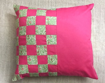 """Pink Flower Print Half Patchwork Cushion Cover - 18"""""""