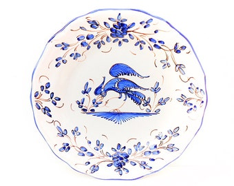French Vintage Moustiers Blue and White Oiseau Fantastique Hand Painted Faience Plate (C092)