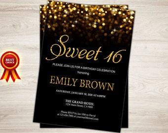 Sweet 16 Invitation. Sweet Sixteen Birthday Invite. Black and gold glitter 16th birthday invite. Confetti printable. Quinceanera invitation