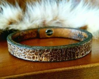 Rustic Brown Leather Bracelet Custom Branded Wording Available, Antiqued Brown Leather Bracelet, Women/ Men's Rustic Cuff