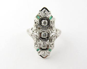Vintage 18K White Gold Diamond and Emerald Art Deco Ring Size 6 #732