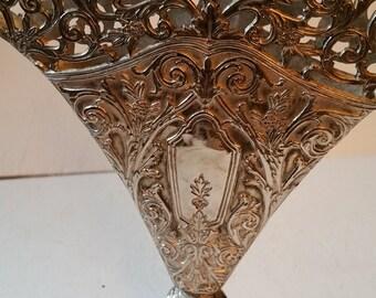 Silver Tone fan vase, engravings