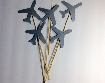 """Shiny silver Airplane Table decor on 12"""" skewers, Centerpiece, decorative accessory, birthday decor, baby shower decor, 12 per order"""
