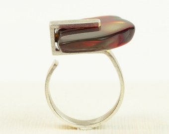 """Handmade Baltic Amber Ring. Shape of Figure """"5"""". Red Amber Ring.  Amber Jewelry."""