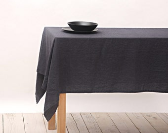 Linen Tablecloth - Dark Grey - Stone Washed Linen Tablecloth - Rustic Wedding - Natural Flax - Handmade Tablecloth - various sizes