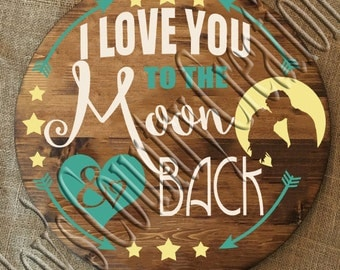 I Love you to the moon and back couple  SVG, PNG, JPEG