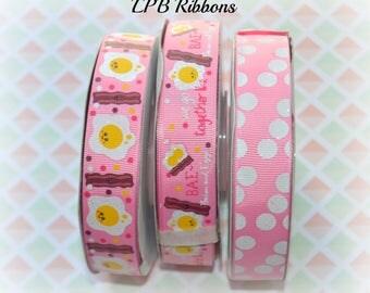 7/8 Ribbon, Bacon Ribbon, Eggs Ribbon, Breakfast Ribbon, US Designer Ribbon, Pink Ribbon, Ribbon by the Yard, Grosgrain Ribbon