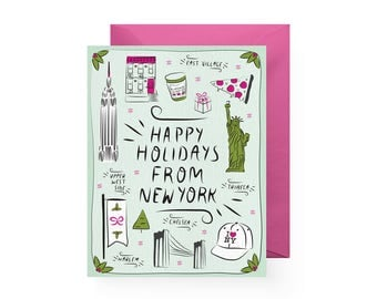 Happy Holidays from New York! (Single Card or Set of 6)