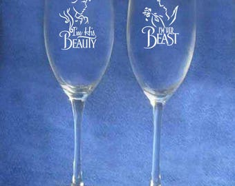 Set of 2 - 8 oz Wedding Glasses with the Beauty and the Beast Theme - personalized on back