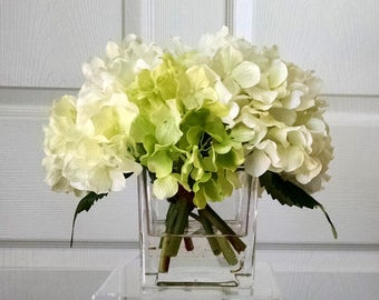 Real Touch Hydrangea-Floral Arrangement-Flower Arrangement-White/Cream Hydrangeas-Silk Faux Arrangement -Fake Flowers-White/Cream Flowers