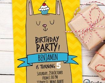 BUNNY BIRTHDAY INVITATION | boy | editable | two sided | printable