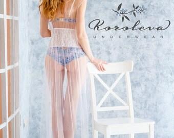 Bridal Nightgown, Bridal Lingerie, Sleepwear, Wedding Lingerie, Eyelash Lace, Honeymoon Gown, Silk Ribbons