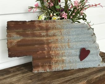 Nebraska Old Barn Tin Cut Out With Magnetic Tin Red Heart