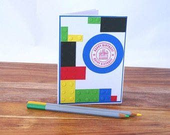Kids happy birthday card, Building block birthday card for boys, Boys happy birthday greeting card, Childrens happy birthday card handmade