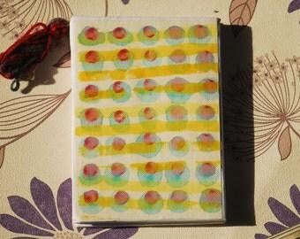 Yellow Rain.  Stitched and hand-sewn notebook. Lluvia en Amarillo. Cuaderno cosido.