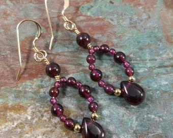 Garnet and gold filled earrings