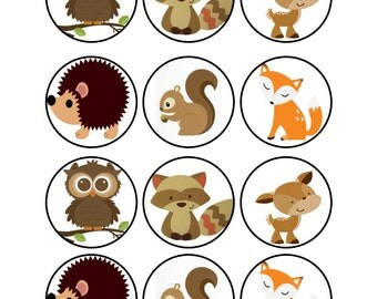 Edible Woodland Animals Cupcake Cookie Toppers
