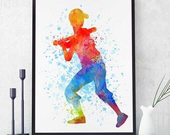 Baseball Decor, Softball Boy Print, Watercolor Print, Baseball Boy Wall Art, Sports Decor, Baseball Mom Gift (N045)