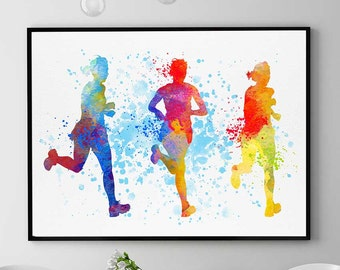 Half Marathon Gift, Sports Print, Gift For Runners, Watercolor Prints, Home Wall Art Decor (N064)