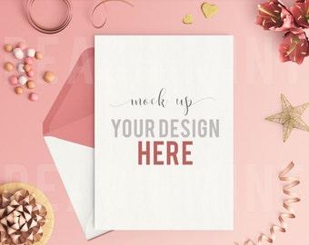 Mock Up Pink Invitation 5x7 Vertical | Pink White Gold Decorations | Digital Paper | Digital Background | Digital Wallpaper | Mock Up | PNG