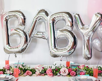 "BABY Letter Balloons | 40"" Silver Letter Balloons 