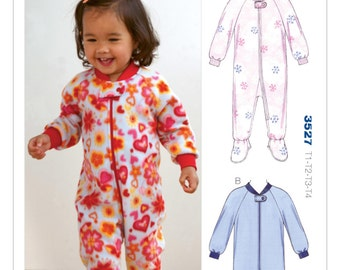 Sewing Pattern for Toddlers' Jumpsuit Sleepers, Kwik Sew Pattern 3527, One Piece Jammies, Footed PJs Toddlers Pattern