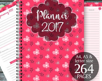 2017 Planner, Printable 2017, Monthly planner 2017 Weekly planner, Planner Pages, 2017 Agenda, Printable planner Inserts (A4, A5, letter)