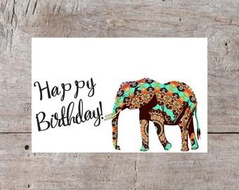 Happy Birthday Card, Elephant Birthday Card, Elegant Birthday Card, Cute Birthday Card, Adorable Birthday Card, Fancy Birthday Card
