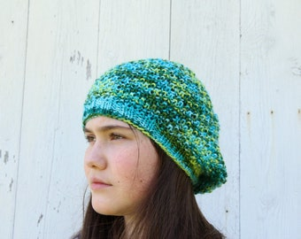 Spring Colors Slouch Hat - Green Slouch - Blue Slouchy Hat - Knit Slouch Hat - Spring Hat - Handknit Slouch Hat - Blue and Green Hat