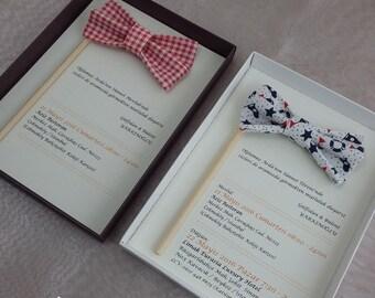 Bow Tie Wedding Invitations, Hand Made Wedding Invitations, Couture Invitations, Box Wedding Invitations, Bow Tie Invites, 1 INVITATION