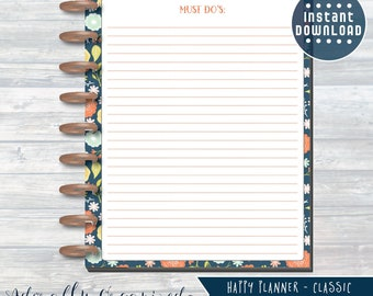 HAPPY PLANNER PRINTABLE To Do Planner Pages / Inserts - 7 x 9.25   Navy Blooms   Create 365   Me & My Big Ideas   mambi   To Do Page