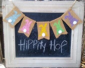 Easter Bunny Mini Burlap Banner, Easter Decor, Spring Banner, Easter Burlap Decor, Wreath Add on, Wreath Embellishment,