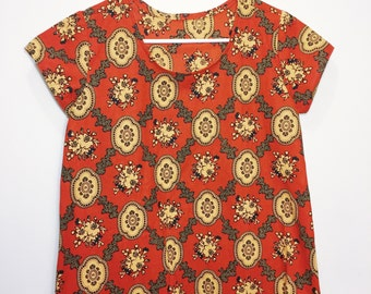 African Wax Print Tee // Rust and Black Printed Blouse
