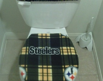 nfl pittsburgh steelers plaid fleece fabric toilet seat cover set bathroom accessories 2pc