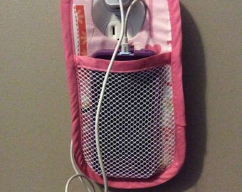 Phone charging caddy, cell phone caddy, fabric cell phone caddy