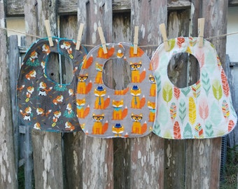 Set of Three Traditional Bibs - Adorable Fox Prints!