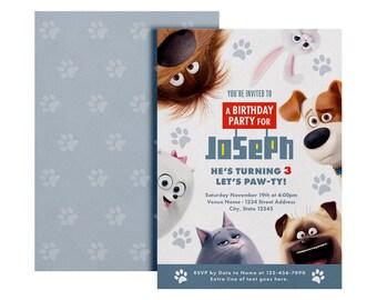 Secret Life Of Pets Invitation, Secret Life Of Pets Custom Invite, Printable Invitation, Pets Birthday Card, The Secret Life Of Pets