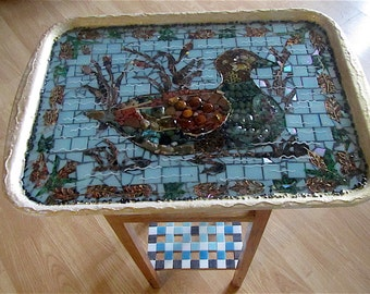 Mosaic table top, large serving tray, semiprecious stones, pebbles, thick glass-like varnish