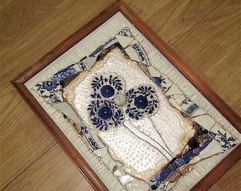 Mixed media picture, gift, semiprecious stones, multidimensional paint, broken china